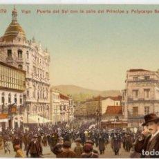 Postales: GALICIA. VIGO (PONTEVEDRA). PUERTA DEL SOL CON LA CALLE DEL PRINCIPE. COLOREADA. RARA.. Lote 106588815