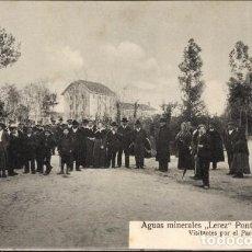 Postales: PONTEVEDRA ANTIGUA POSTAL AGUAS MINERALES LEREZ VISITANTES POR EL PARQUE. Lote 106593287