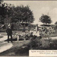 Postales: PONTEVEDRA ANTIGUA POSTAL AGUAS MINERALES LEREZ NIÑOS DE PASEO POR EL PARQUE. Lote 106593395