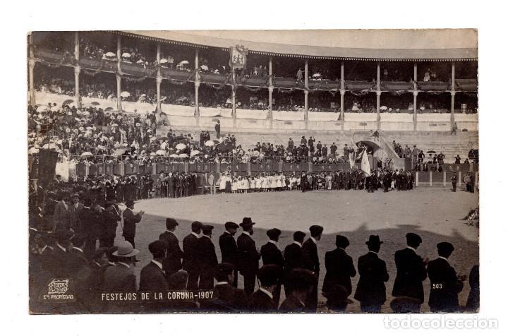 FERRER. CORUÑA.- FESTEJOS DE LA CORUÑA - POSTAL FOTOGRÁFICA - 1907 (Postales - España - Galicia Antigua (hasta 1939))