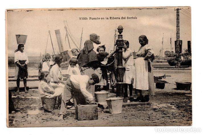 VIGO – FUENTE EN LA RIBERA DEL BERBÉS – FOTOTIPIA DE HAUSER Y MENET.- MADRID. (Postales - España - Galicia Antigua (hasta 1939))