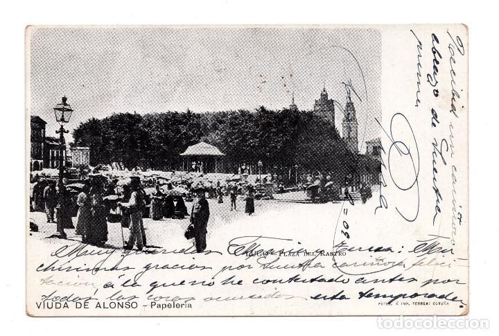 LUGO.- PLAZA DEL RASTRO.- VIUDA DE ALONSO, PAPELERÍA. FOTOS É IMP. FERRER CORUÑA (Postales - España - Galicia Antigua (hasta 1939))