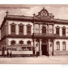 Postales: PONTEVEDRA. Nº 21. CASA CONSISTORIAL. FOTOTIPIA DE KALLMEYER Y GAUTIER. SIN CIRCULAR. TRANVIA. Lote 109782999