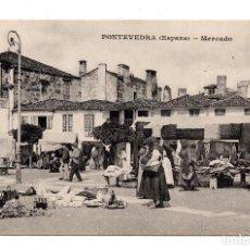 Postales: PONTEVEDRA (ESPAÑA) - MERCADO, MESSAGERIES MARITIMES. Lote 109890903