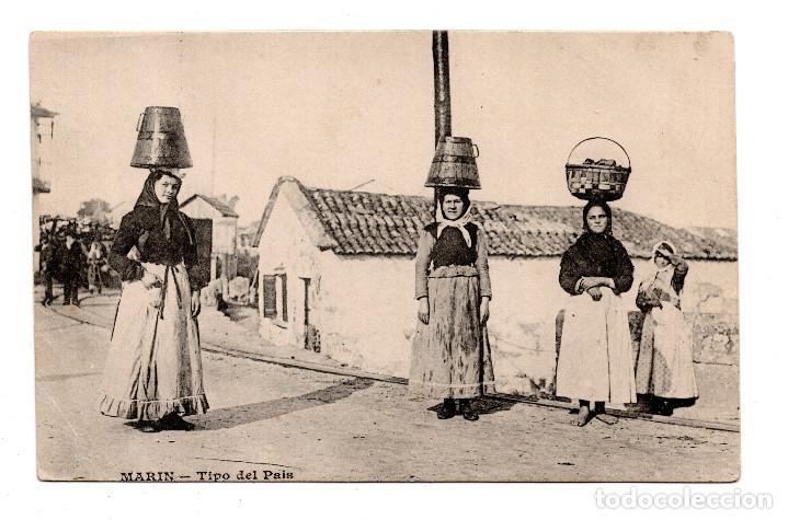 PONTEVEDRA. MARIN. TIPOS DEL PAIS. MESSAGERIES MARITIMES. REVERSO SIN DIVIDIR. . SIN CIRCULAR (Postales - España - Galicia Antigua (hasta 1939))