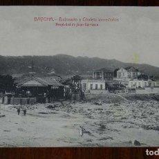 Postales: BAYONA, BALNEARIO Y CHALETS INMEDIATOS, ROPIEDAD DE JUAN CARRASCO, CIRCULADA EN 1917. Lote 113065011