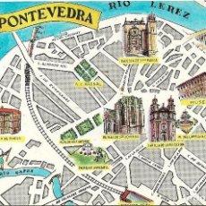 Postales: PONTEVEDRA .- PLANO DE LA CIUDAD .- EDICIONES FRESMO 1964. Lote 113646615