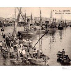Postales: LA CORUÑA Nº 7 MUELLE DE LINARES RIVAS EDIC LIBRERIA DE LINO PEREZ HAUSER Y MENET GALICIA . Lote 115038215