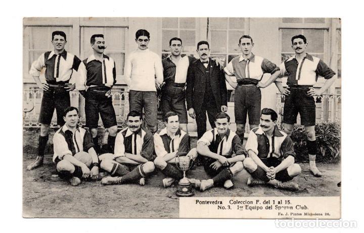 TARJETA POSTAL. FÚTBOL. PONTEVEDRA. 1ER EQUIPO DEL SPORTIN CLUB. (Postales - España - Galicia Antigua (hasta 1939))