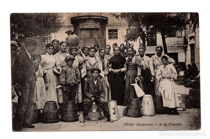 VIGO .- ESPAÑA, A LA FUENTE, MESSAGERIES MARITIMES (Postales - España - Galicia Antigua (hasta 1939))