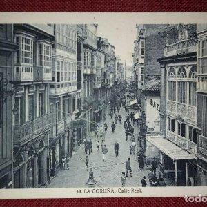 Postal antigua La Coruña - Calle Real - Fotografía de L.Roisin 14x9