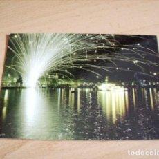 Postales: LA CORUÑA -- FUEGOS ARTIFICIALES EN LA BAHIA ( YATE AZOR ). Lote 119269223