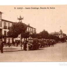 Postales: LUGO.- SANTO DOMINGO- PARADA DE AUTOS. Lote 119614399