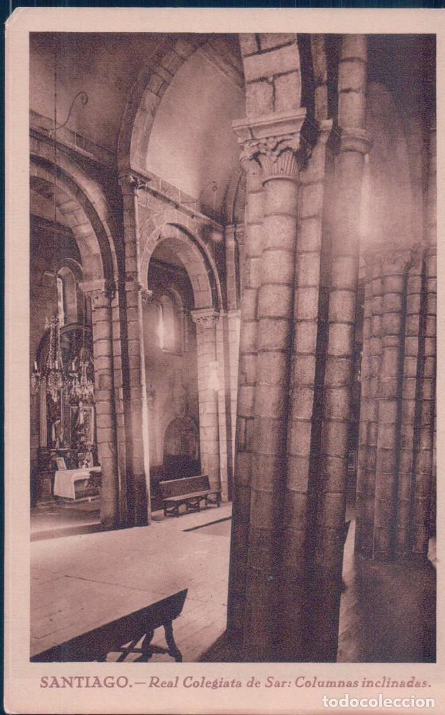 POSTAL SANTIAGO - REAL COLEGIATA DE SAR - COLUMNAS INCLINADAS - GRAFICAS VILLARROCA (Postales - España - Galicia Antigua (hasta 1939))