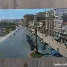 Postales: POSTAL LA CORUÑA, OBELISCO Y AVENIDA DE LOS CANTONES. Lote 120213487