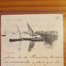 Postales: POSTAL CORUÑA MUELLE DE HIERRO SELLO DEL PELON. Lote 122825547