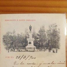 Postales: POSTAL CORUÑA MONUMENTO A DANIEL CARBALLO SELLO PELON 1900. Lote 122825643