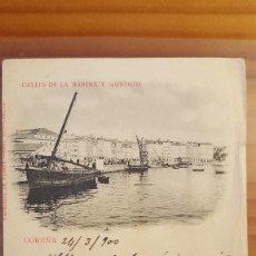 Postales: POSTAL CORUÑA CALLE DE LA MARINA Y MONTOTO SELLO DEL PELON 1900. Lote 122825747