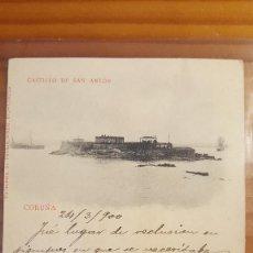 Postales: POSTAL CORUÑA CASTILLO DE SAN ANTON SELLO DEL PELON 1900. Lote 122825811