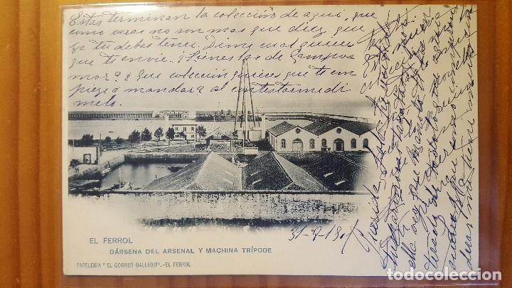 POSTAL EL FERROL DARSENA DEL ARSENAL Y MACHINA TRIPODE 1901 (Postales - España - Galicia Antigua (hasta 1939))