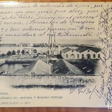 Postales: POSTAL EL FERROL DARSENA DEL ARSENAL Y MACHINA TRIPODE 1901. Lote 122826215