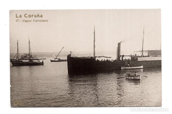 LA CORUÑA.- VAPOR FERROLANO (Postales - España - Galicia Antigua (hasta 1939))