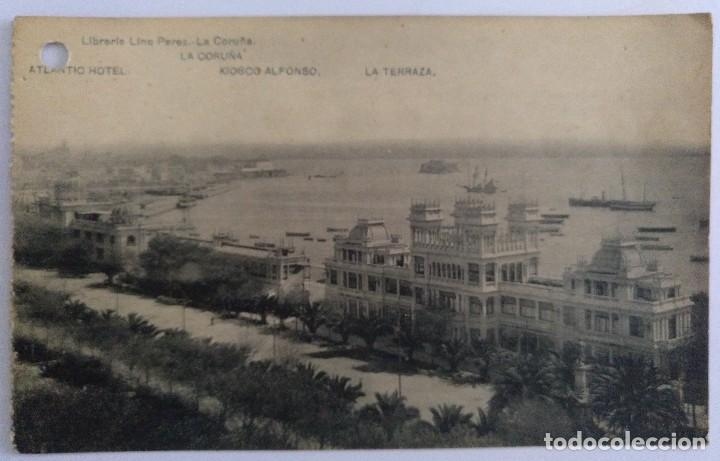 Postal La Coruña Atlantic Hotel Kiosco Alfonso La Terraza Hauser Y Manet Libreria Lino Perez
