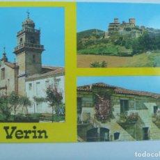 Postales: POSTAL DE VERIN : IGLESIA DE LA MERCED, CASTILLO DE MONTERREY Y BARRIO SAN LAZARO. AÑOS 60. Lote 128241251