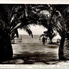 Postales: VILLAGARCIA DE AROSA--ENTRADA PARQUE Y PLAYA COMPOSTELA.-ROISIN-1935- RARA. Lote 128962095