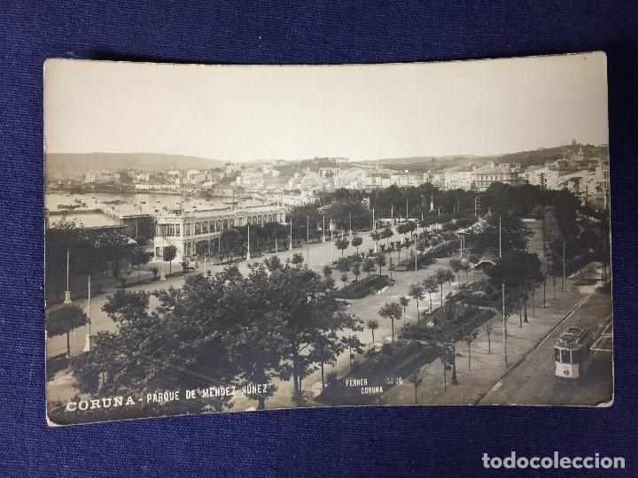 POSTAL LA CORUÑA PARQUE DE MENDEZ NÚÑEZ ED FERRER 3200 ESCRITA NO CIRCULADA (Postales - España - Galicia Antigua (hasta 1939))