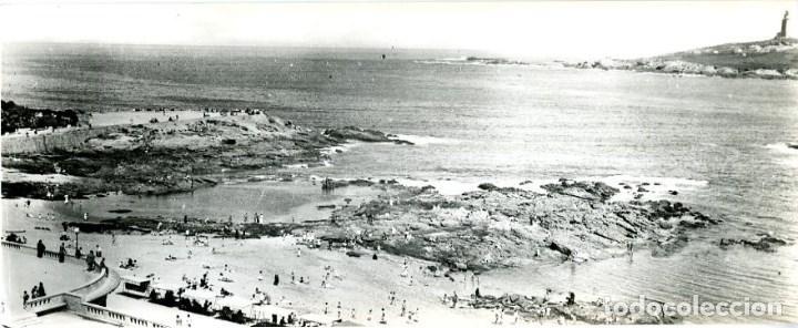 A CORUÑA. PLAYA DE RIAZOR. POSTAL SURPERPANORÁMICA. EDIC. ARRIBAS Nº 909. FOTOGRÁFICA. (Postales - España - Galicia Moderna (desde 1940))