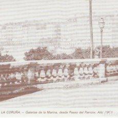 Postales: POSTAL A CORUÑA. GALERÍAS DE LA MARINA, DESDE Pº DEL PARROTE. AÑO 1901. LIBRERÍA ARENAS. A CORUÑA. Lote 130914116