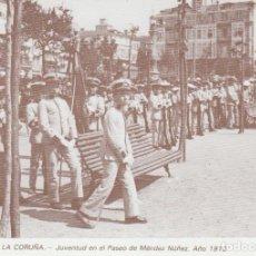 Postales: POSTAL A CORUÑA. JUVENTUD EN EL PASEO DE MÉNDEZ NÚÑEZ. AÑO 1910. LIBRERÍA ARENAS. A CORUÑA. Lote 131023864