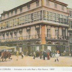 Postales: POSTAL A CORUÑA. ENTRADAS A LA CALLE REAL Y RÚA NUEVA. 1900. LIBRERÍA ARENAS. A CORUÑA. Lote 131023916