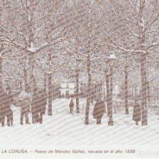 Postales: POSTAL A CORUÑA. Pº DE MÉNDEZ NÚÑEZ, NEVADA EN EL AÑO 1898. LIBRERÍA ARENAS. A CORUÑA. Lote 131023952