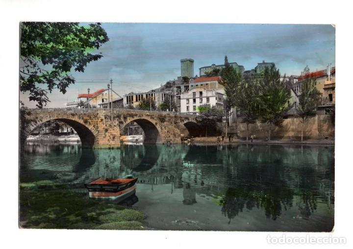 MONFORTE DE LEMOS.(LUGO).- PUENTE ROMANO Y CASTILLO - ED. ARRIBAS. (Postales - España - Galicia Antigua (hasta 1939))