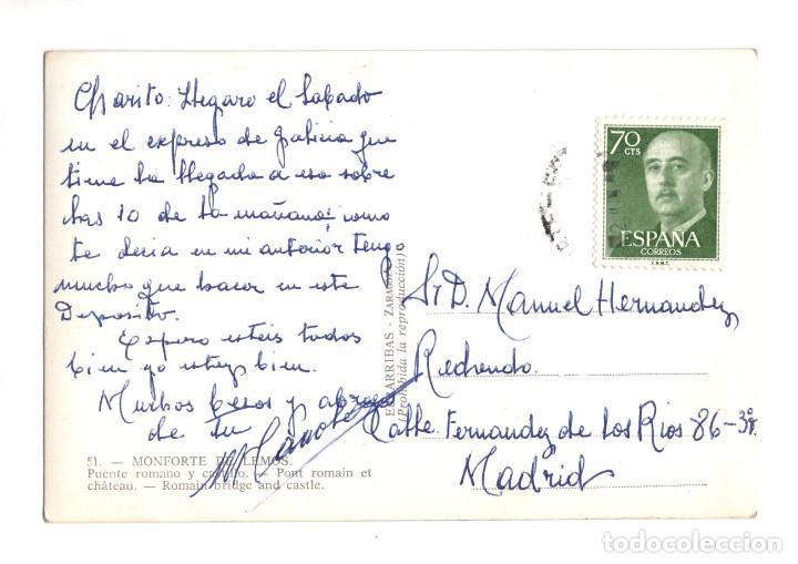 Postales: MONFORTE DE LEMOS.(LUGO).- PUENTE ROMANO Y CASTILLO - ED. ARRIBAS. - Foto 2 - 132332642