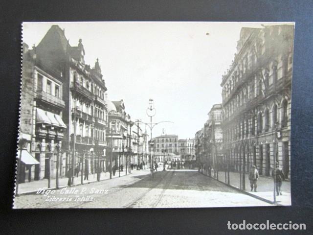 POSTAL PONTEVEDRA. VIGO. CALLE P. SANZ. LIBRERÍA TETILLA. (Postales - España - Galicia Antigua (hasta 1939))