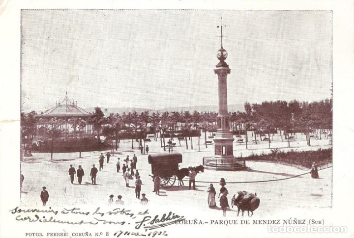 CORUÑA - PARQUE DE MENDEZ NUÑEZ (SUR) FERRER CIRCULADA EN 1902 (Postales - España - Galicia Antigua (hasta 1939))