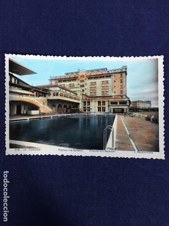 POSTAL COLOREADA LA CORUÑA 218 PISCINA LA SOLANA ROISIN FOTO (Postales - España - Galicia Moderna (desde 1940))