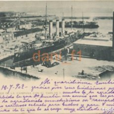 Cartoline: EL FERROL EL DIQUE DE LA CAMPANA CON EL CARLOS V - EL CORREO GALLEGO - CIRCULADA 1902 - VER REVERSO. Lote 135623246