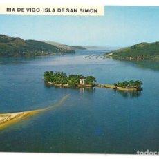 Postales: VIGO - PONTEVEDRA - RIA DE VIGO - ISLA DE SAN SIMÓN VISTA AÉREA - POSTALES FAMA. Lote 137669474
