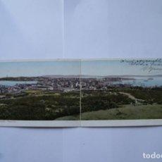 Postales: POSTAL DOBLE A CORUÑA COLOREADA AÑOS 20/30. Lote 138214510