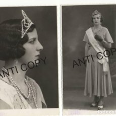 Postales: LOTE DE 2 FOTOGRAFÍAS RIBADEO MISS AÑO 1933 SEÑORITA CON BANDA GALARDÓN MISS. Lote 139650502