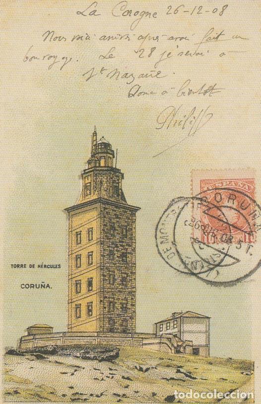 POSTAL A CORUÑA. TORRE DE HÉRCULES. REPRODUCCIÓN LA OPINIÓN (Postales - España - Galicia Moderna (desde 1940))