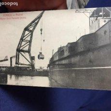 Postales: ANTIGUA POSTAL DE FERROL A CORUÑA ARSENAL NUEVA GRUA FLOTANTE RECTA PAPELERIA DE EL CORREO GALLEGO. Lote 141780310