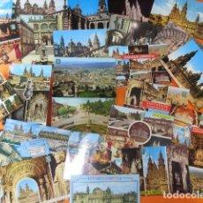 Postales: SANTIAGO DE COMPOSTELA - 39 POSTALES - 4 CIRCULADAS CON SELLOS AÑOS 60/70 MATASELLOS AÑO SANTO 1971. Lote 143203002