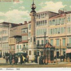 Postales: POSTAL A CORUÑA. OBELISCO - 1902. REPRODUCCIÓN LIBRERÍA ARENAS. A CORUÑA. Lote 143206642
