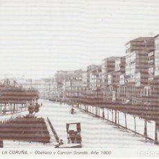 Postales: POSTAL A CORUÑA. OBELISCO Y CANTÓN GRANDE - 1900. REPRODUCCIÓN LIBRERÍA ARENAS. A CORUÑA. Lote 143206782