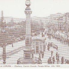 Postales: POSTAL A CORUÑA. OBELISCO, CANTÓN GRANDE. PARADA MILITAR - 1905. REPRODUCCIÓN LIBRERÍA ARENAS. Lote 143207202